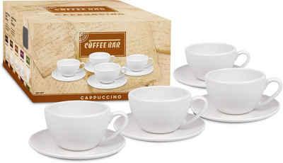 Könitz Cappuccinotasse »Coffee Bar«, Porzellan, (4 Tassen, 4 Untertassen)