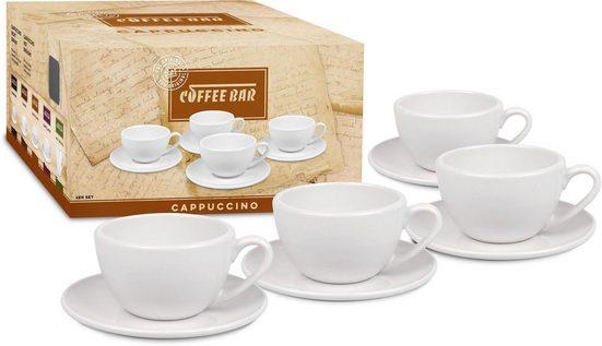Könitz Cappuccinotasse »Coffee Bar« (8-tlg), (4 Tassen mit Untertassen), Porzellan