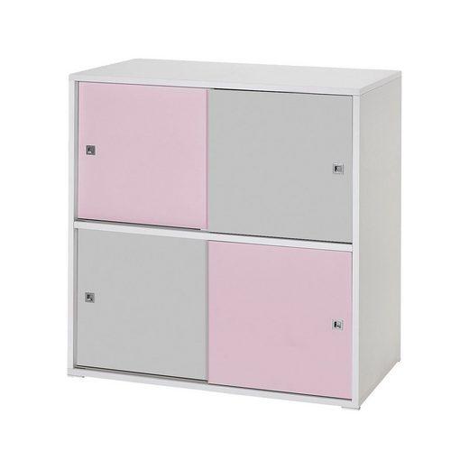 Schardt Kommode Clic, rosa/grau, 4-türig