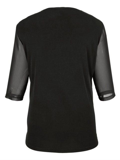 m. collection 2-in-1 Shirt mit Chiffon-Besatz in Shirtjacken-Optik | Bekleidung > Shirts > 2-in-1 Shirts | m. collection