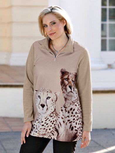 m. collection Fleece-Sweatshirt mit aufwendigem Tierdruckmotiv