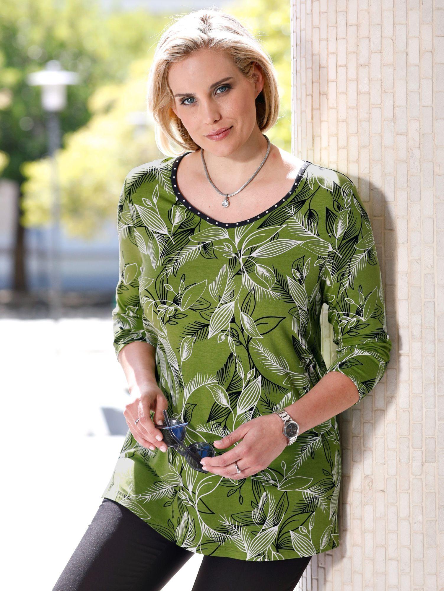 m. collection Shirt mit hübschem Blätterdruckdessin