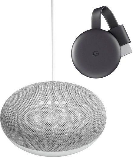 Google Home Mini kreide + Chromecast Video (2018) Set Smart Speaker (Bluetooth, WLAN (WiFi)