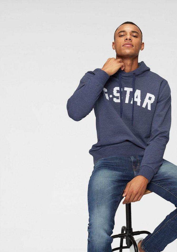 Herren G-Star RAW Kapuzensweatshirt Halgen core hooded Flockprint im Used Look blau | 08719369949012
