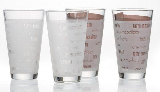 Ritzenhoff & Breker Latte-Macchiato-Glas »Chicco« (4-tlg), Schrift-Dekor