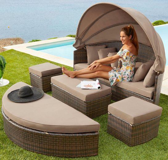MERXX Loungebett »Multifunktionsbett Riva«, Polyrattan