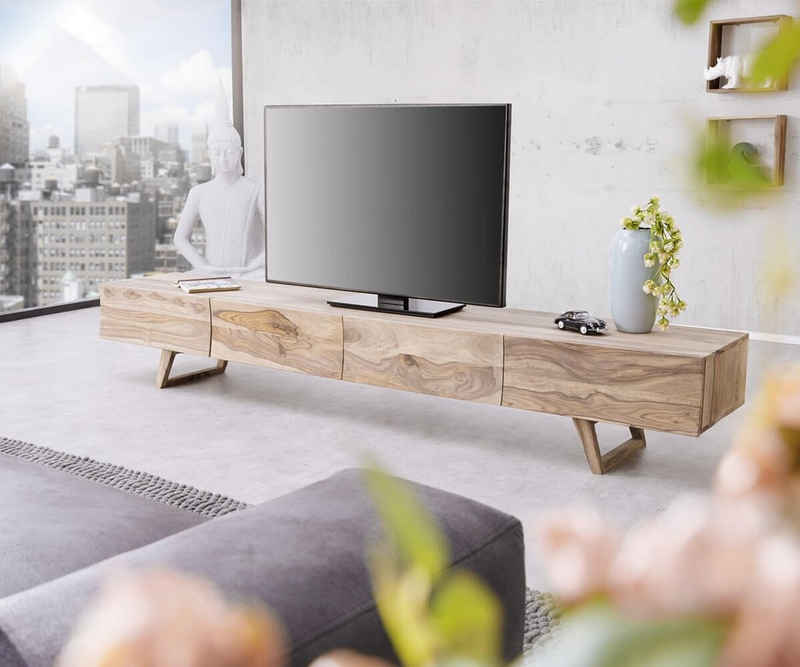 DELIFE TV-Board »Wyatt«, Sheesham Natur 220 cm 4 Schubladen Design Lowboard