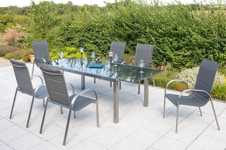MERXX Gartenmöbelset »Lucca«, 7-tlg., 6 Sessel, Tisch 180 (240)x100 cm, Edelstahl/Textil