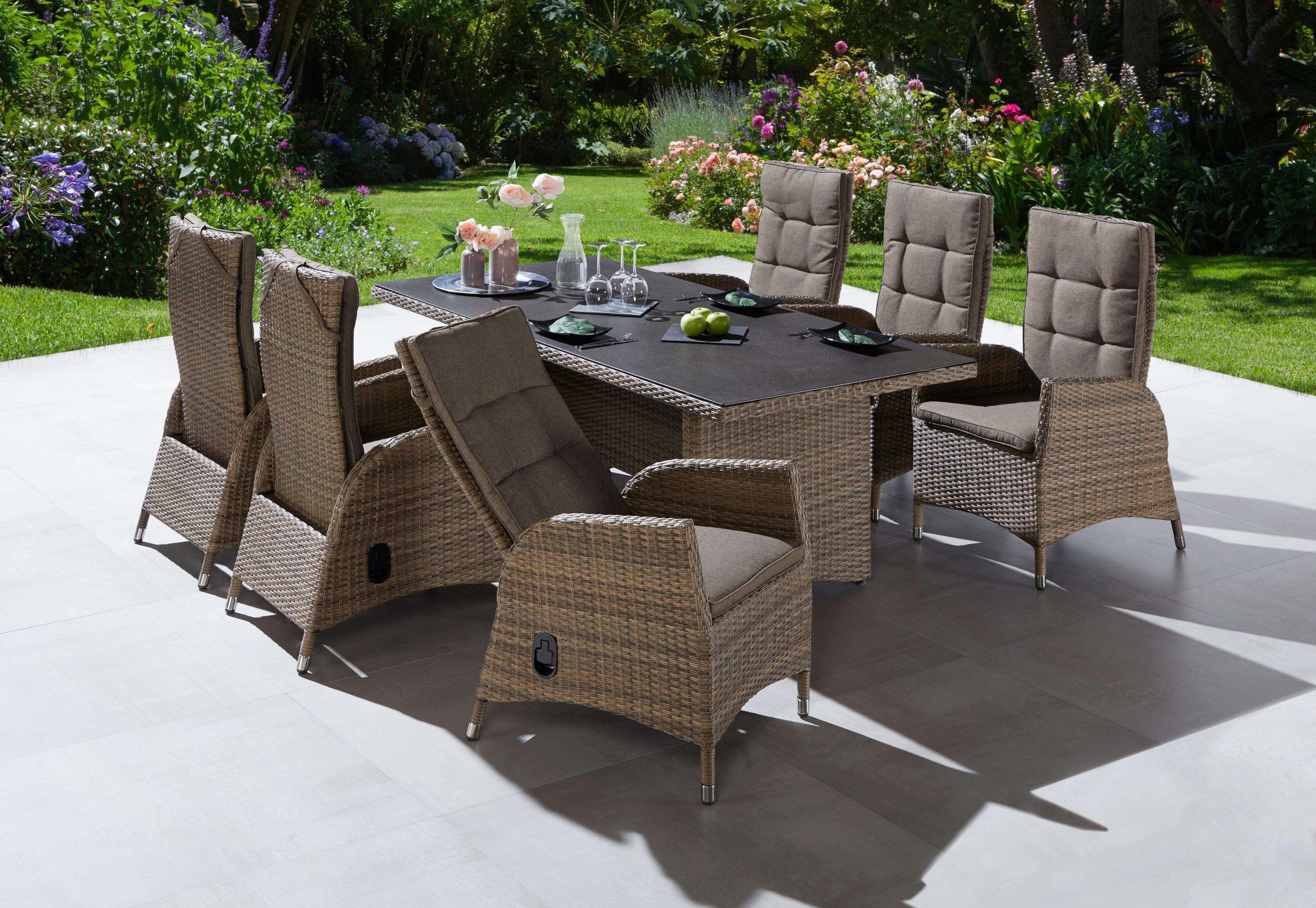 PLOSS Gartenmöbelset »Tokio«, 13-tlg., 6 Sesseln, Tisch 200x95 cm, Polyrattan