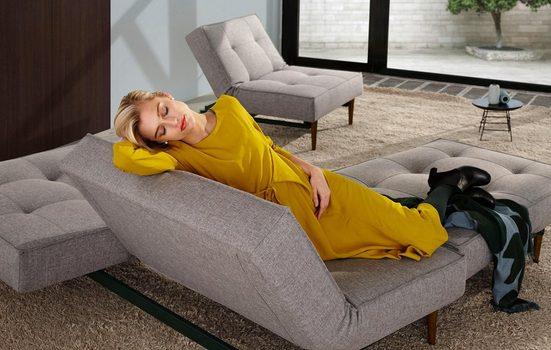 INNOVATION LIVING ™ Schlafsofa »Splitback«, mit dunklen Styletto Beinen, in skandinavischen Design