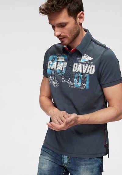 9ff61ca3f87a1e CAMP DAVID Poloshirt mit Knopfleiste am Ausschnitt