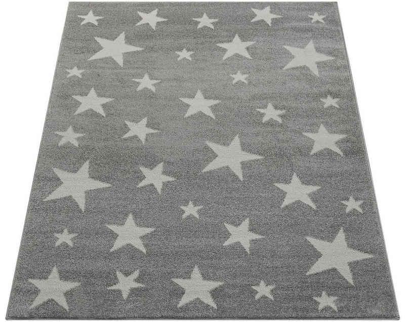 Kinderteppich »Capri 315«, Paco Home, rechteckig, Höhe 9 mm, Kurzflor mit Stern Motiv, Pastell-Farben, Kinderzimmer