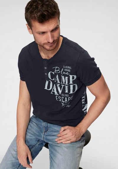 5122741cd3247d CAMP DAVID T-Shirt »Rundhalsshirt mit Rippblende« mit Knopfleiste am  Ausschnitt