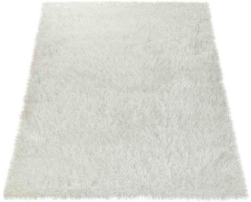 Hochflor-Teppich »Glamour 300«, Paco Home, rechteckig, Höhe 70 mm, Uni Farben, mit weichem Glanz Garn, Wohnzimmer