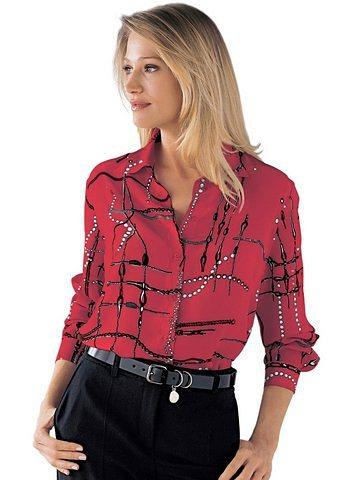 Hemd-Bluse in rot-bedruckt