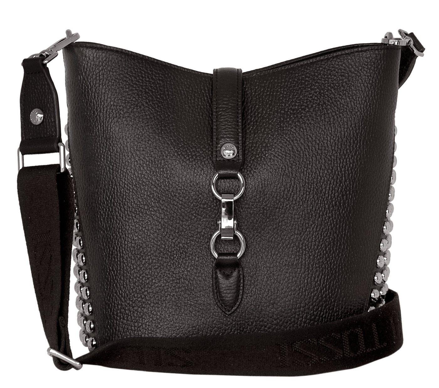 Silvio Tossi Lederschultertasche mit langem Schulterband | Taschen > Handtaschen > Ledertaschen | Schwarz | Silvio Tossi