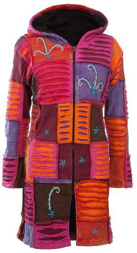 DEPROC Active Strickmantel »Patchwork Mantel Multicolor FLOWER POWER Kapuze«