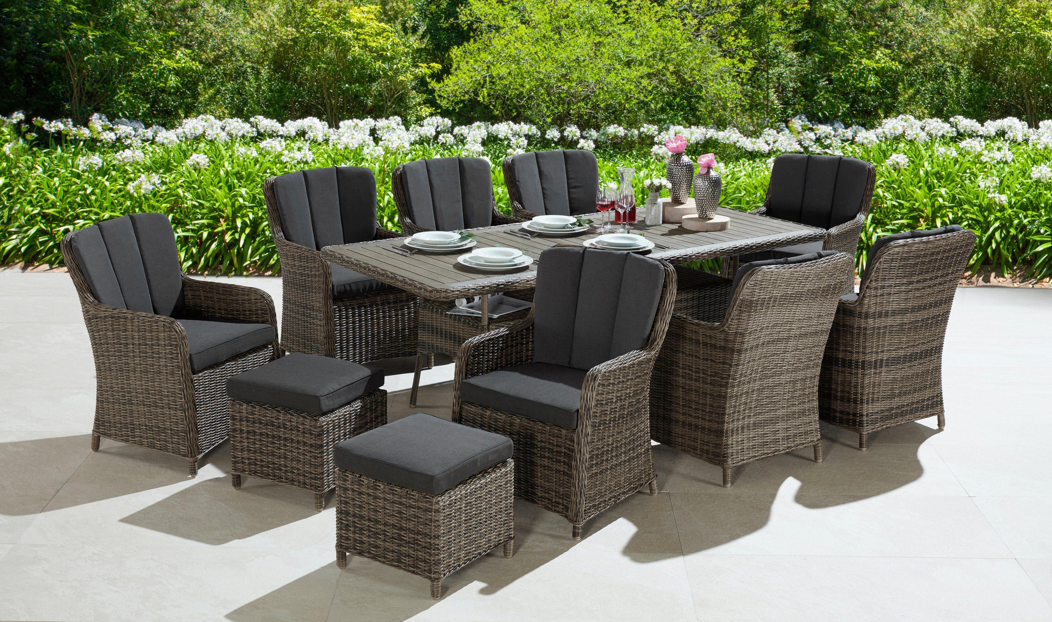KONIFERA Gartenmöbelset »Kenya«, 29-tlg., 8 Sessel, 2 Hocker, Tisch, Polyrattan/Akazie