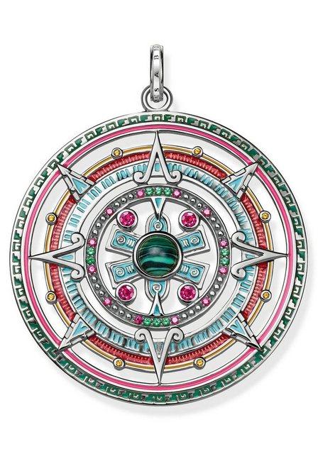 THOMAS SABO Runder Anhänger »Amulett, PE801-467-7« mit Glas-Keramikstein, Malachit (imit) und Korund (synth)   Schmuck > Halsketten > Amulette   THOMAS SABO