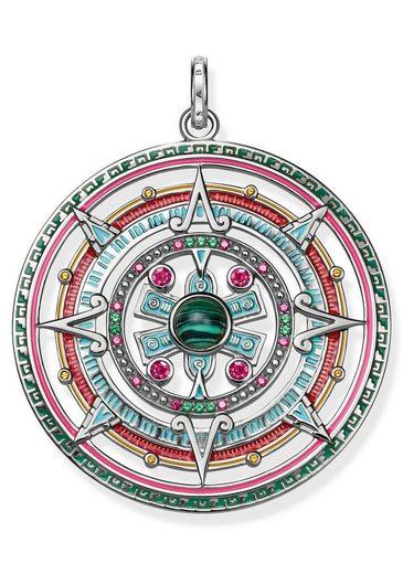 THOMAS SABO Runder Anhänger »Amulett, PE801-467-7« mit Glas-Keramikstein, Malachit (imit) und Korund (synth)