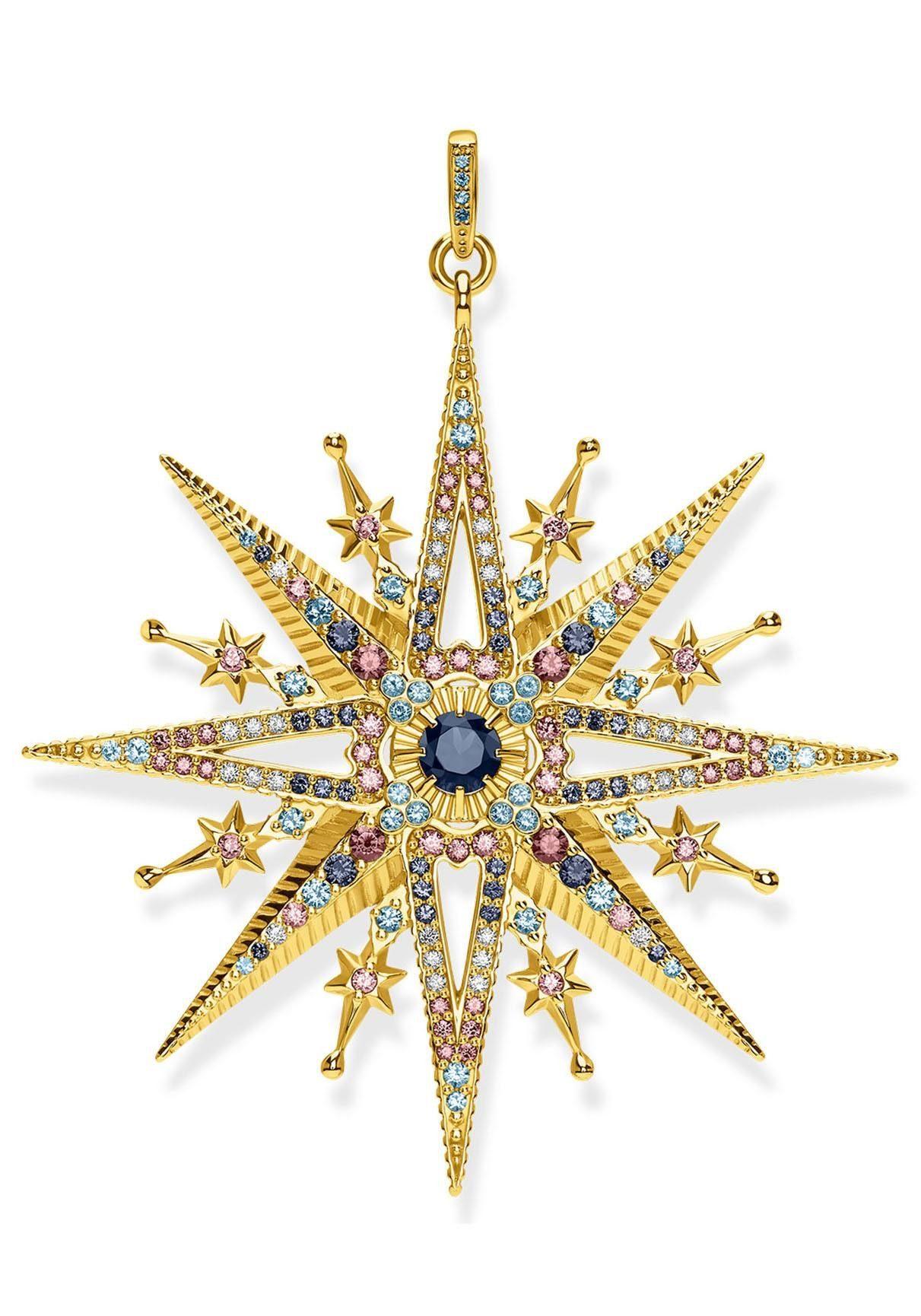 THOMAS SABO Kettenanhänger »Royalty Stern Gold, PE820-959-7« mit Glas-Keramikstein, Spinell (synth) und Zirkonia
