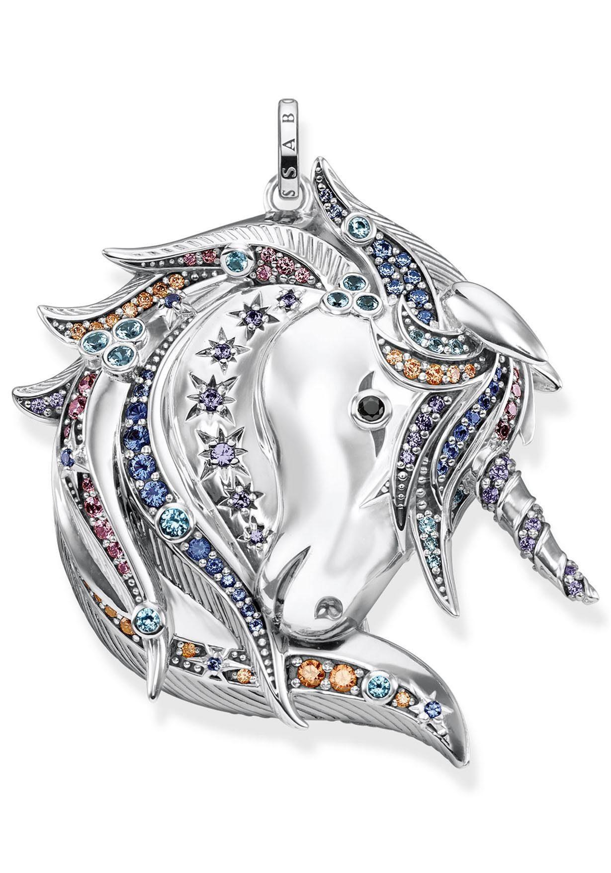 THOMAS SABO Kettenanhänger »Royalty Einhorn Silber, PE821-945-7« mit Glas-Keraminstein, Spinell (synth) und Zirkonia