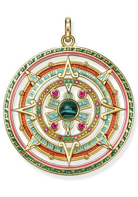 THOMAS SABO Runder Anhänger »Amulett, PE801-470-7« mit Glas-Keramikstein, Malachit (imit) und Korund (synth)   Schmuck > Halsketten > Amulette   Goldfarben   THOMAS SABO