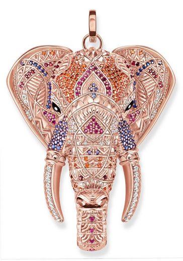 THOMAS SABO Kettenanhänger »Elefant, PE739-921-7«, mit Onyx, Korund (synth) und Zirkonia