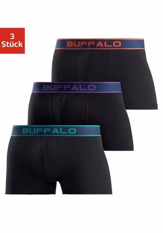 Herren Buffalo Boxer (3 Stück) mit Logo Webbund schwarz | 04893962468348