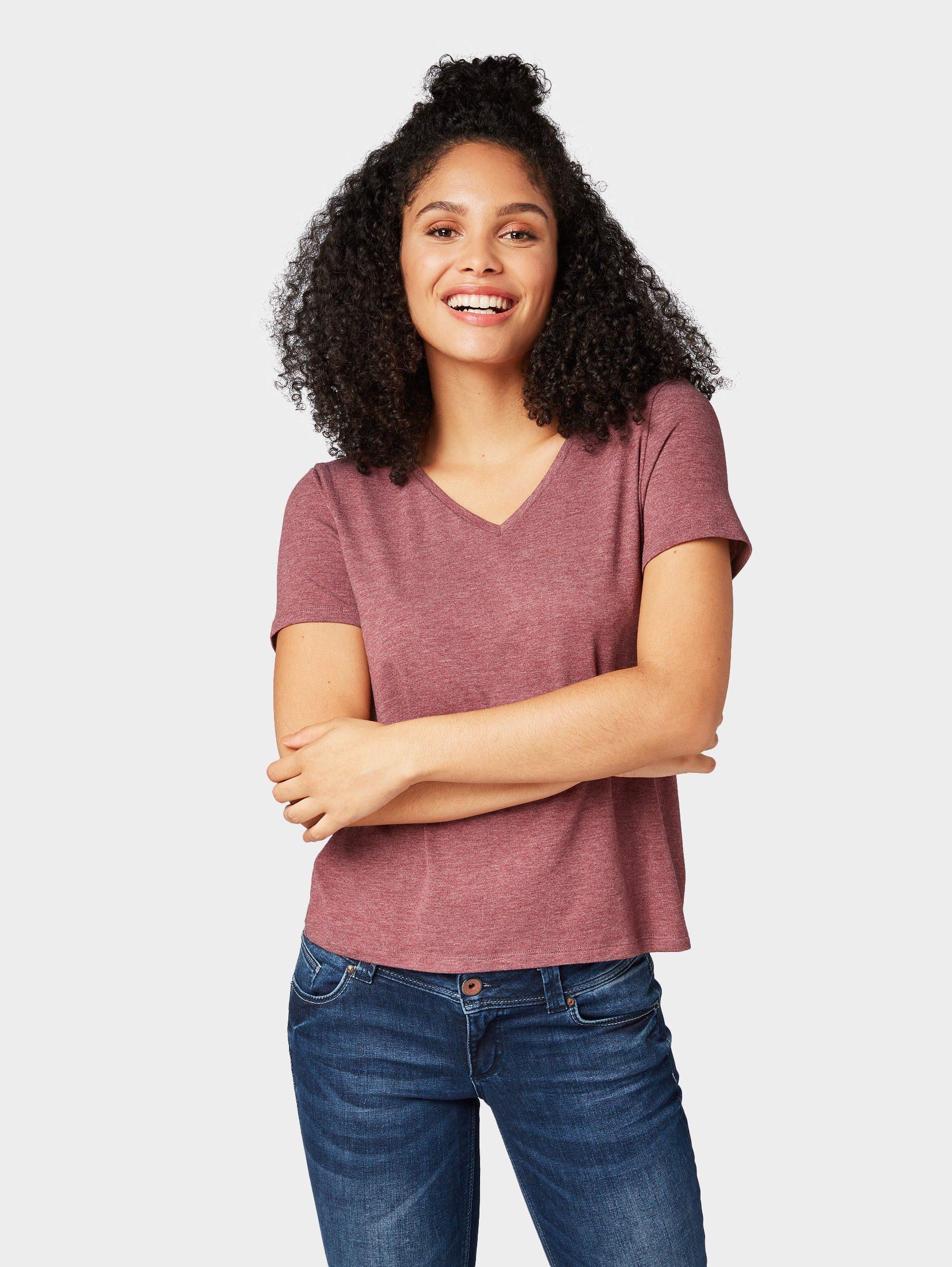TOM TAILOR Denim T-Shirt »T-Shirt in Melange-Optik«