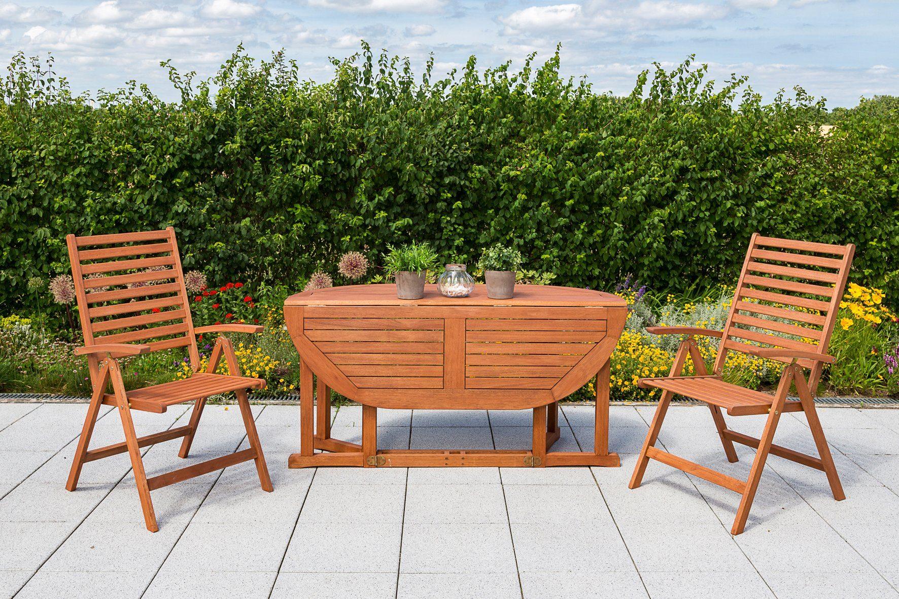 MERXX Gartenmöbelset »Bahia«, 3-tlg., 2Klappsessel, Tisch 150x100 cm, Eukalyptus
