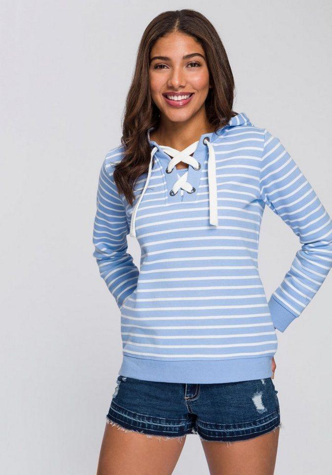 4cd346619465cc BASEFIELD Kapuzensweatshirt mit modischem Schnürkragen online kaufen ...