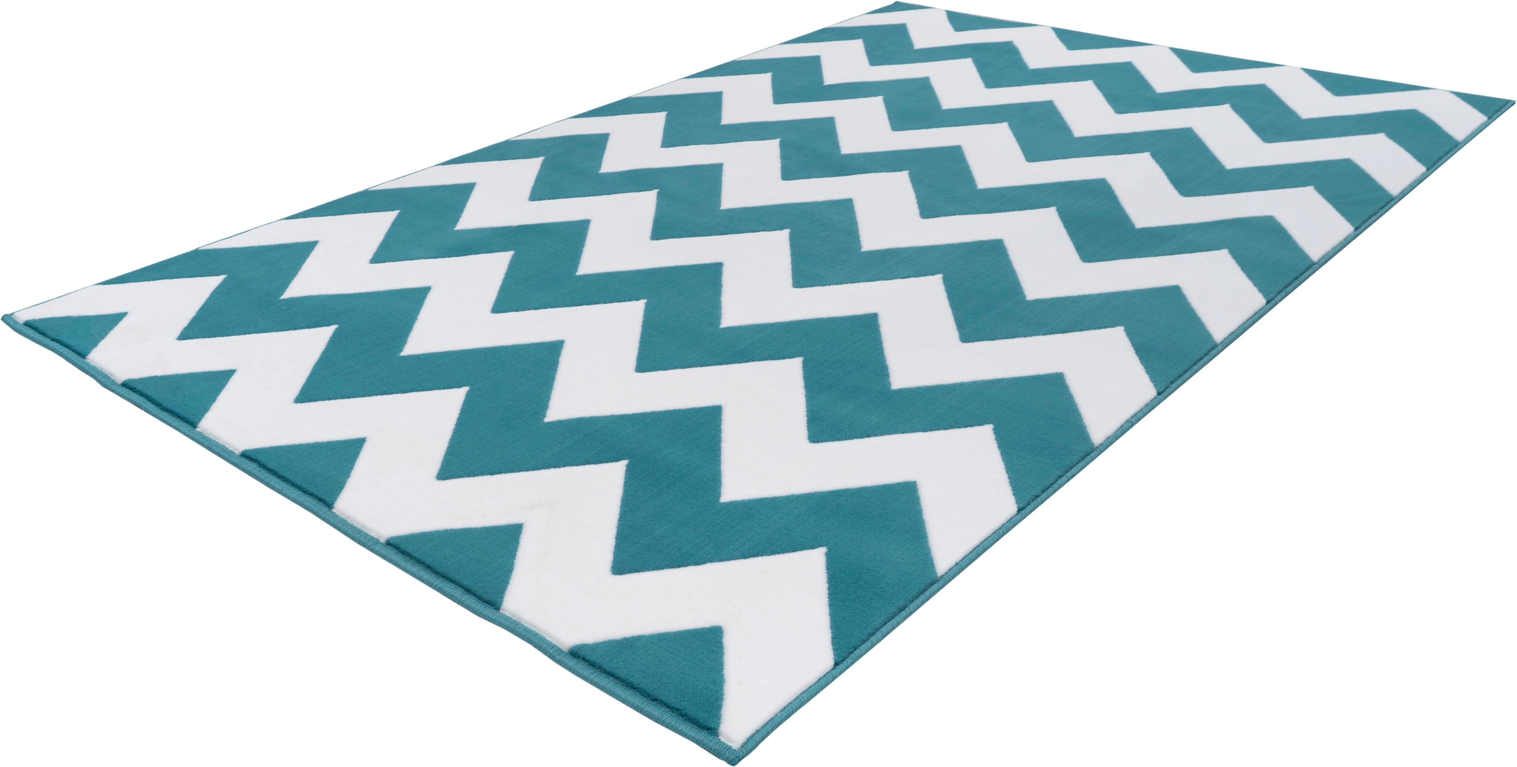 Zickzack-Muster Geometrisch Kayoom Teppich Manolya 2095 Grün Höhe 10 mm