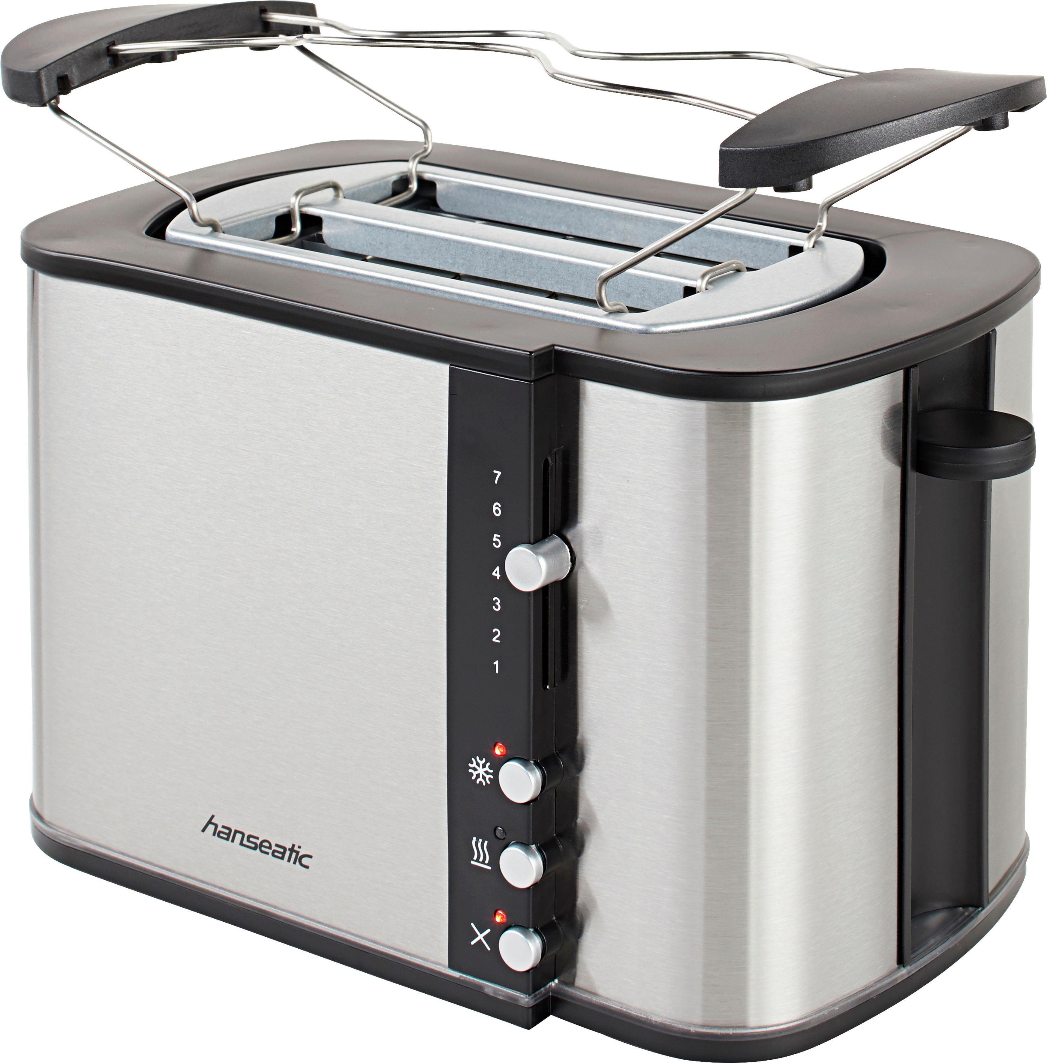 Hanseatic Toaster mit Brötchenaufsatz, 2 kurze Schlitze, für 2 Scheiben, 870 W