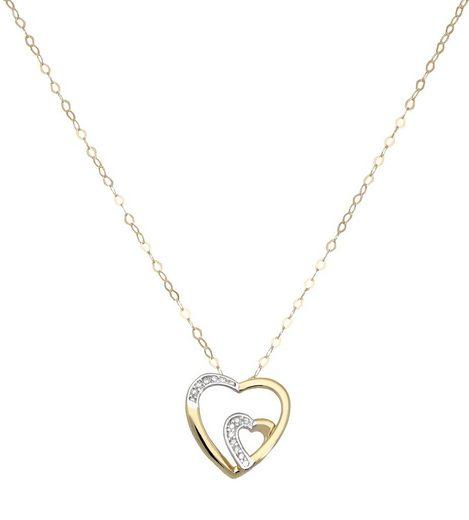 Vivance Herzkette »Herzanhänger bicolor«, 1x Diamant = 0,005ct.