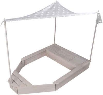 roba® Sandkasten »Schiff«, mit Sonnendach, HxBxT: 150 x 100 x 142 cm