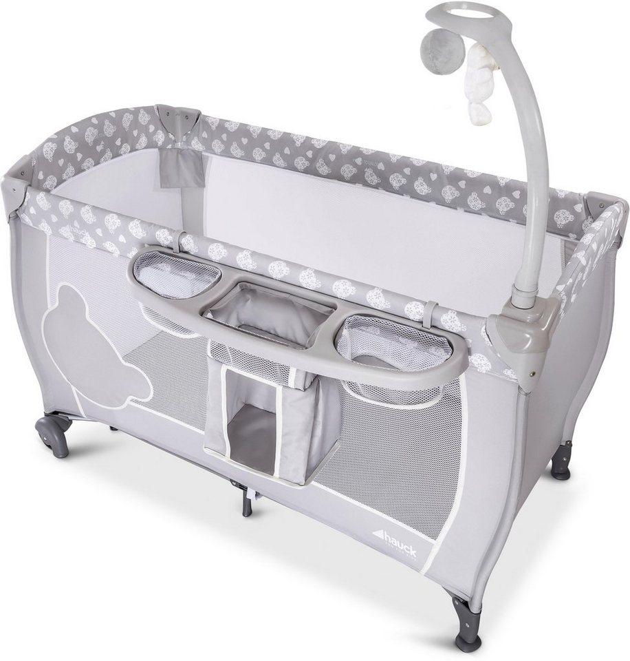 hauck baby reisebett babycenter teddy grey mit mobile. Black Bedroom Furniture Sets. Home Design Ideas
