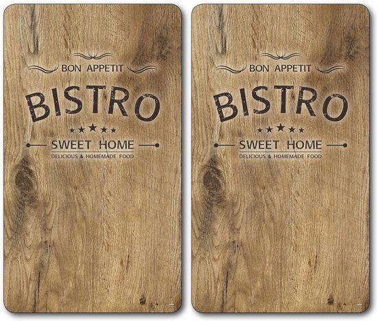 KESPER for kitchen & home Schneide- und Abdeckplatte »Bistro«, ESG-Sicherheitsglas, (Set, 2 tlg), Mit 6 Elastikfüßen je Platte
