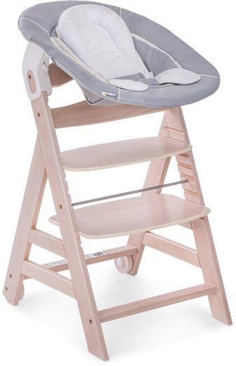 Hauck Hochstuhl »Beta+ Newborn Set 3in1, White Washed Stretch Grey« mit Neugeborenen-Aufsatz