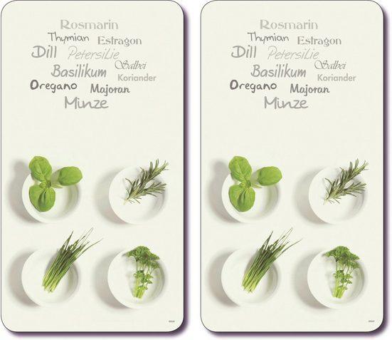 KESPER for kitchen & home Schneide- und Abdeckplatte »Kräuter«, ESG-Sicherheitsglas, (Set, 2 tlg), Multi-Glasschneideplatte