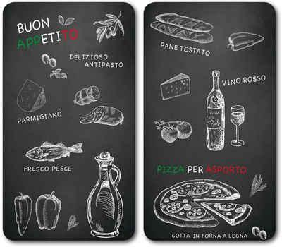 KESPER for kitchen & home Schneide- und Abdeckplatte »Ristorante«, ESG-Sicherheitsglas, (Set, 2 tlg), mit 6 Elastikfüßen je Platte