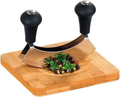 KESPER for kitchen & home Kräuterschneidebrett, Bambus, mit Wiegemesser