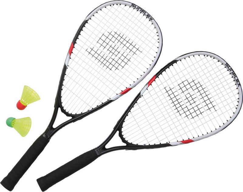 Sunflex Speed-Badmintonschläger »Speed Badminton Sonic«, (Set, 5-tlg., mit Bällen, mit Schlägerhülle, mit Tasche)