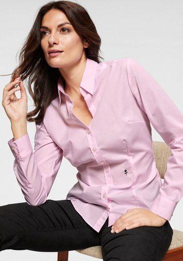 Seidensticker schwarze Rose Klassische Bluse unifarben, mit langen Ärmeln
