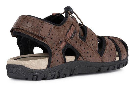 Schnellverschluss Dunkelbraun Geox »u Strada« schwarz Mit Sandal Sandale Praktischem DeIWEYbH29