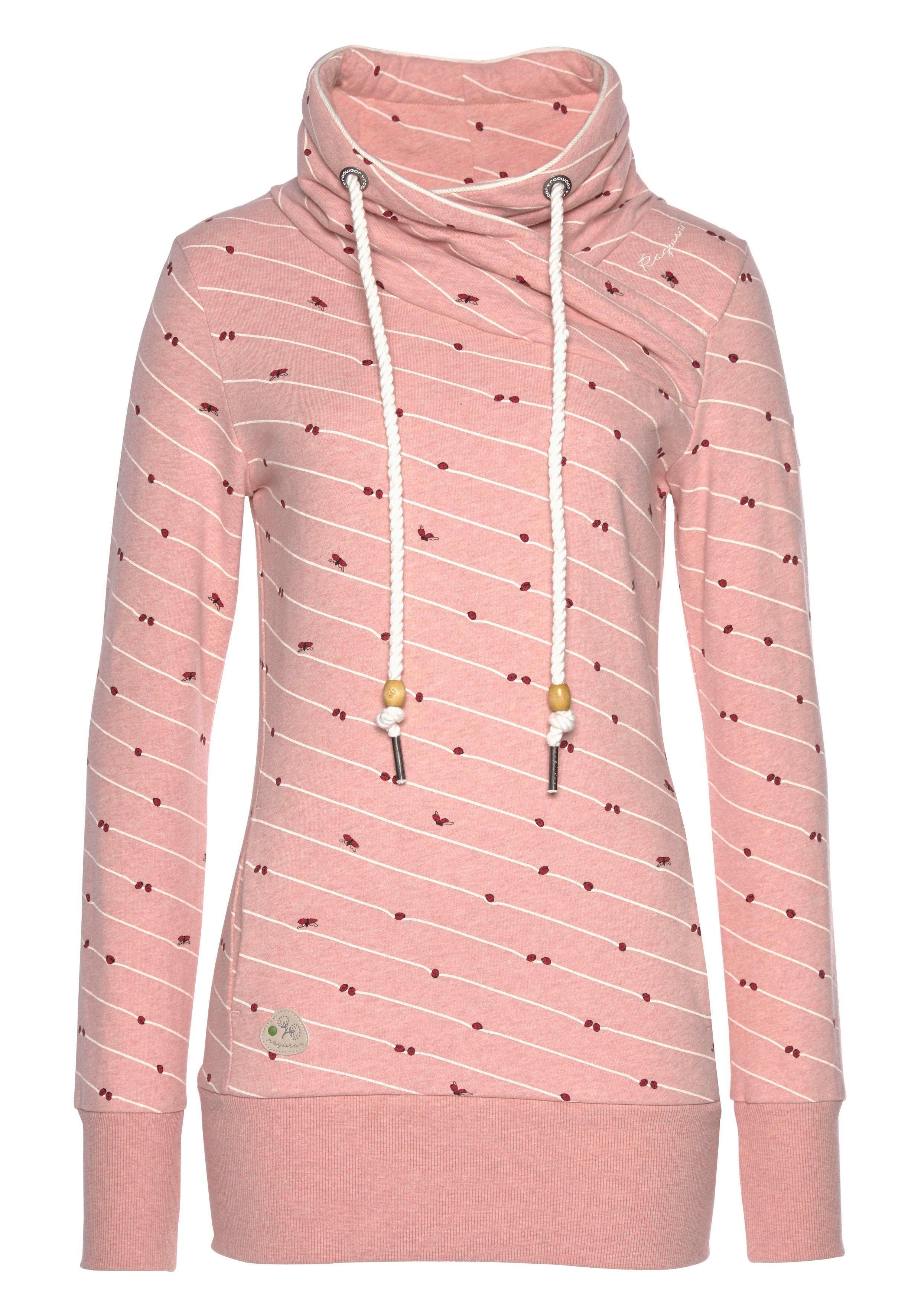Ragwear Sweatshirt »NESKA A ORGANIC« mit Streifen und Glücks Allover Marienkäfer Print online kaufen | OTTO