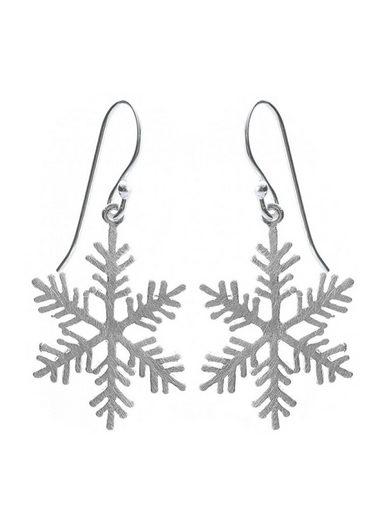 Adelia´s Paar Ohrhänger »925 Sterling Silber Ohrringe - Ohrhänger«, 925 Silber Schneeflocke gebürstet
