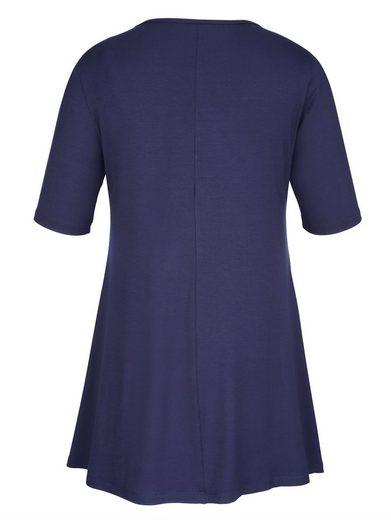MIAMODA Longshirt mit Nieten am Ausschnitt und an den Taschen