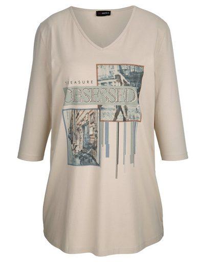MIAMODA Longshirt mit Dekosteinen vorne