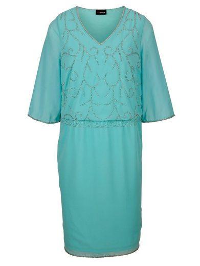 MIAMODA Kleid aus fließendem Chiffon mit glitzernden Perlen